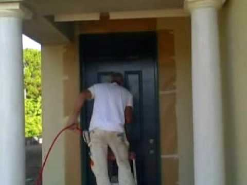 Spray Painting a front door, Joe Pullaro Paint Contractor