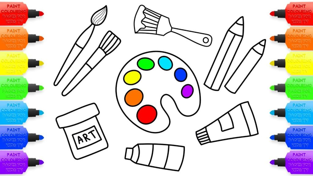 How to Draw Set Tools for Painter | Coloring Pages, Kit for Creativity: Paints, Brushes and Pencils